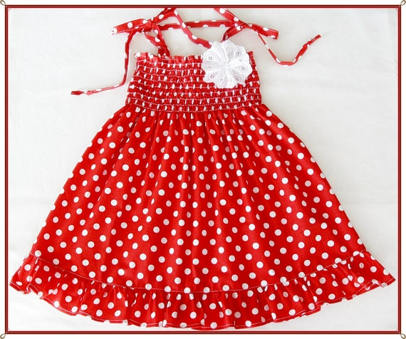 Red and white polka-dot dress for little girls-Size 2T-3T(Available in size 6 month to 6 years) toddlers  for baby girls photo pro