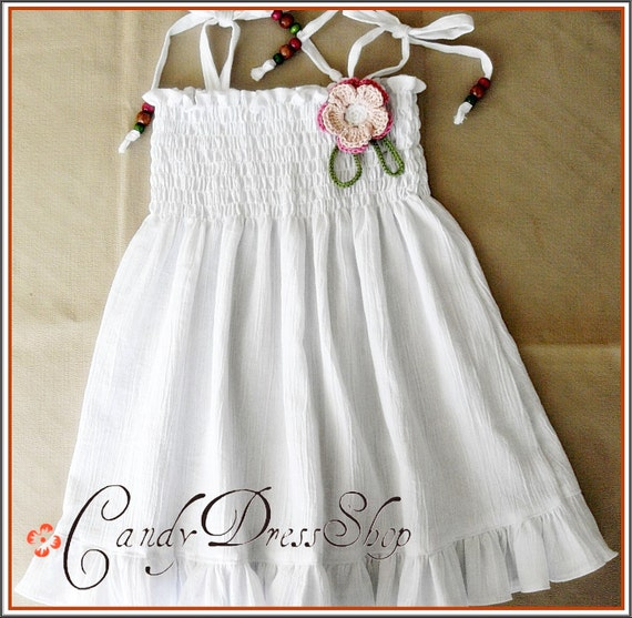 Girls white dress,  Natural white cotton dress, Baby girl white dress, Summer dress for girls,  White Summer dress