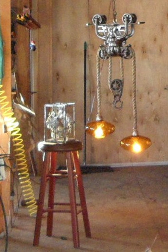 Items Similar To Hay Pulley Trolley Chandelier With