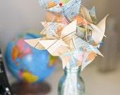 Wedding Vintage Atlas Pinwheels- Repurposed Map Pinwheels - Twirlable
