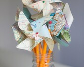Pinwheels - Set of 6 Medium Twirlable Vintage Atlas Pinwheels, set on Classic No. 2 Pencils- Fun Pinwheel Bouquet