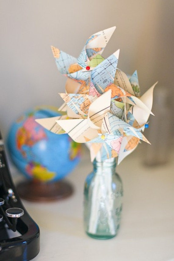 Wedding Vintage Atlas Pinwheels- Repurposed Map Pinwheels - Twirlable