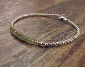 Vesuvianite Bracelet Idocrase Bracelet Jewelry Karen Hill Tribe Silver Beads Beaded Bracelets Womens Holiday Christmas Gift Gifts for Her
