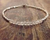 Rose Quartz Bracelet Pink Quartz Bracelets Hill Tribe Silver Womens Jewelry Beaded Bracelets Gemstone Girlfriend Gift Best Friend Teen Girl
