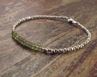 Vesuvianite Bracelet Vesuvianite Bracelets Beaded Bracelets Vesuvianite Jewelry Hill Tribe Silver Bead Bracelet Womens Gifts for Her Wife
