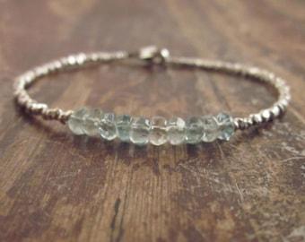 Aquamarine Bracelet Aquamarine Bracelets March Birthstone Bracelet Aquamarine Jewelry Womens Gift Blue Aquamarine Birthstone Beaded Bracelet