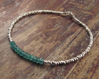 May Birthstone Bracelet Green Onyx Bracelet Beaded Bracelets Womens Gift Friendship Bracelet Silver Bead Bracelet Gift for Best Friend Gift