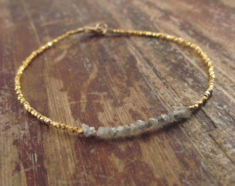 Raw Diamond Bracelet Rough Diamond Bracelets Womens Gift for Her Maid of Honor Gift Bridesmaid Gift Bridesmaids Gifts Gold Beaded Bracelets
