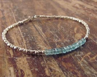 Apatite Bracelet Apatite Bracelets Gift for Women Hill Tribe Silver Gifts for Her Gemstone Jewelry Womens Bead Beaded Bracelets Girlfriend