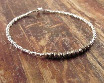 Pyrite Bracelet Pyrite Beaded Bracelets Pyrite Bracelets Pyrite Bead Bracelet Pyrite Jewelry Boho Jewelry Womens Gift Women Beaded Bracelet