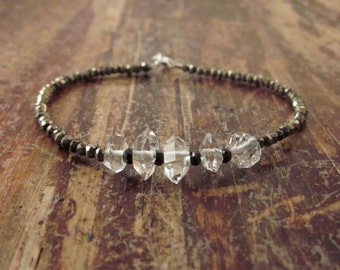 Herkimer Diamond Bracelet Herkimer Diamond Bracelets Beaded Bracelets Womens Wife Gift Quartz Bracelet Beaded Bracelet Black Spinel Pyrite