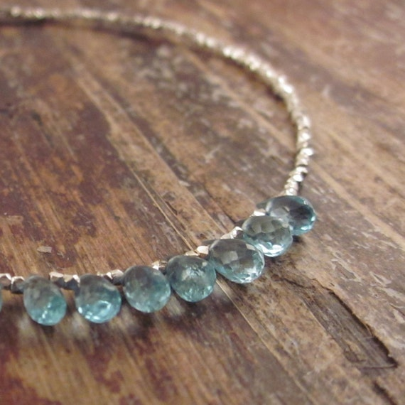 Blue Apatite Bracelet with Karen Hill Tribe Silver Beads Gemstone Stone Beaded Beadwork Woman's Bracelet Delicate Gifts for Her Gift Ideas