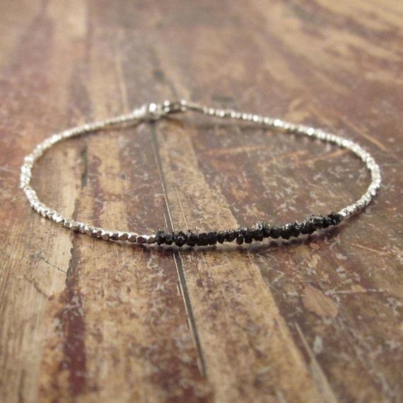 Black Diamonds in the Rough Diamond Bracelet Silver Beaded Bracelet Stone Gemstone April Birthstone Bracelet Woman's Bracelet Beadwork