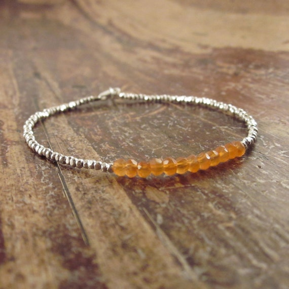 Carnelian Bracelet Carnelian Bracelets Carnelian Jewelry Hill Tribe Silver Beads Bead Beaded Woman's Bracelet Birthday Gift Gifts for Her