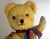 Vintage Mohair Teddy Bear 1950's Golden With Squeaker - PollysVintageBears