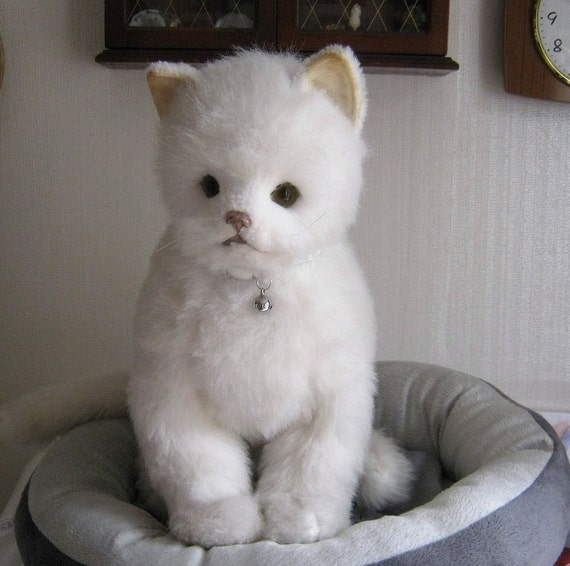 RESERVED Vintage White Toy Cat by Real Soft Toys