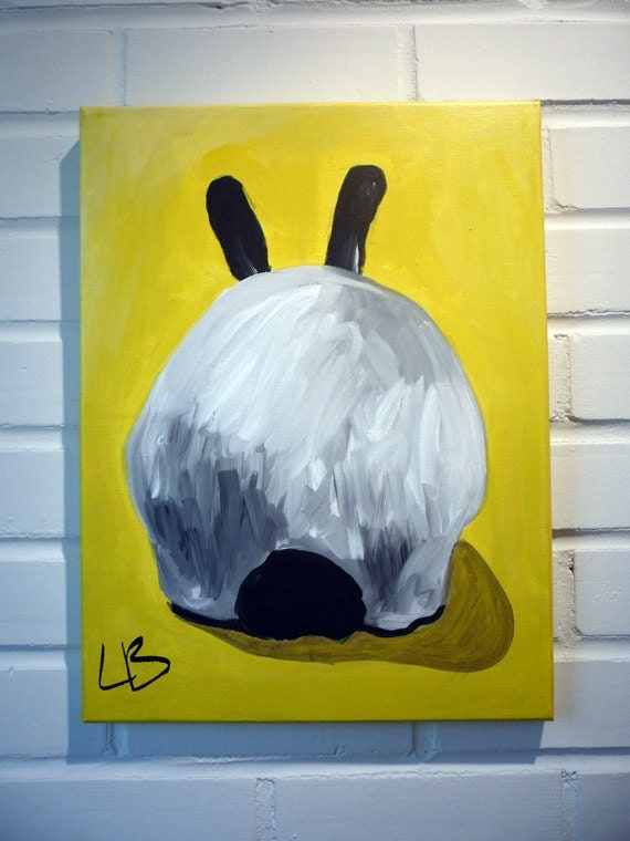 Bunny Painting Canvas Art Original Acrylic on 12x16 Canvas