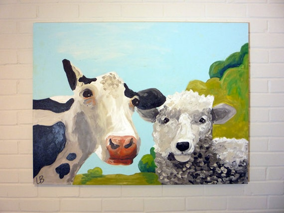Large Farm Animal Painting, Cow and Sheep, 30x40 Acrylic on Canvas