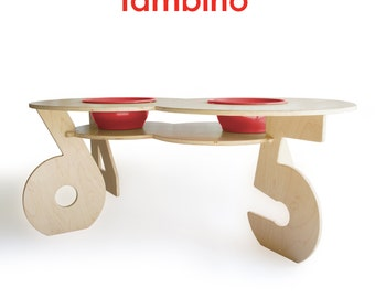 Figure 8 Activity Table in Natural Finish with Red Bowls