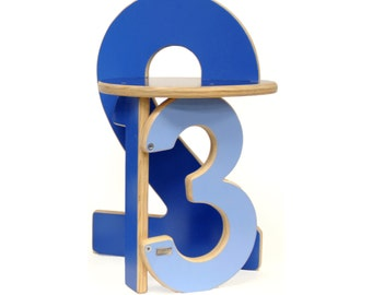 123 Numbers Stool in Blue Hues
