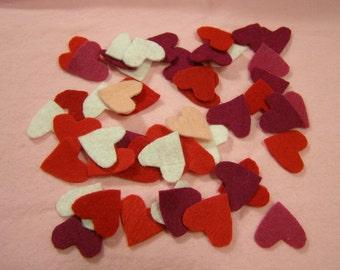 Heart Confetti Multicolor Handcut Felt about 60 pieces