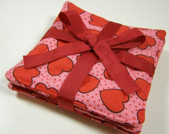 Valentine Coasters Heart Fabric Reversible Set of 4