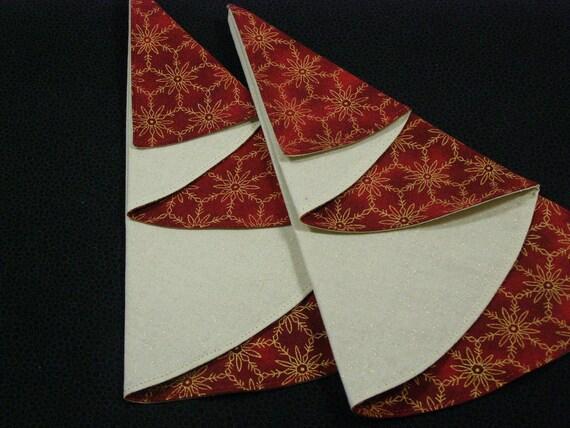 SALE Burgundy and Gold Christmas Tree Cloth Napkins, set of 2