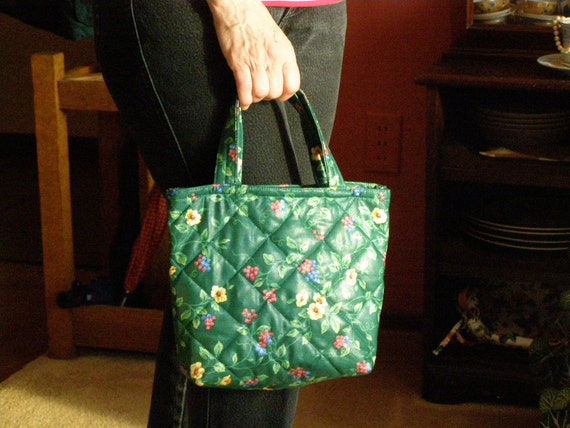 LAST ONE Quilted Tote Bag for books crafts crochet shopping lunch tote