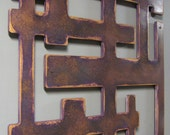 Pink and Copper Mid Century-Style Wood Wall Sculpture 24 X 24 CLEARANCE