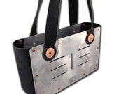 Industrial Chic Leather and Aluminum Handbag 7 Stripes Black