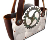 Steampunk Recycled Copper Gear Green Patina and Brown Leather Handbag CLEARANCE