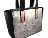 2 Piece TOTE & Handbag Combo Set Aluminum and Black Leather 7 Stripes FREE U.S. Shipping