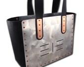 2 Piece TOTE & Handbag Combo Set Aluminum and Black Leather 7 Stripes FREE U.S. Shipping