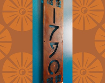 CUSTOM Arts and Craft Style Vertical House Numbers in Rusted Steel