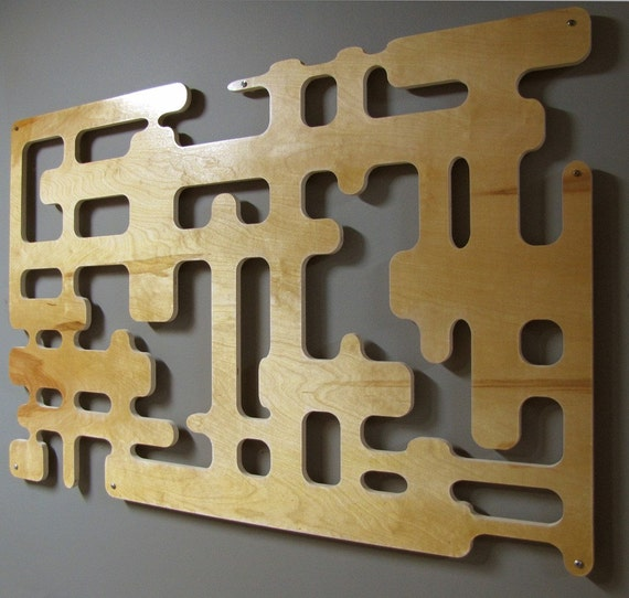 Midcentury Modern Blonde Wood Wall Sculpture 30 X 40