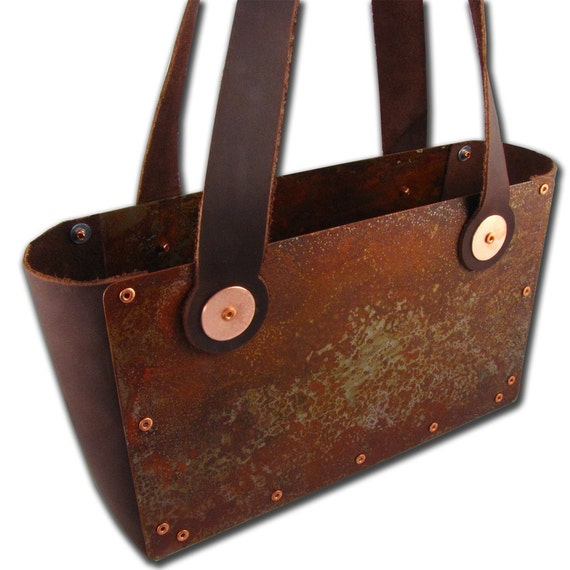 Steampunk Rusted Steel Industrial Chic and Dark Brown Leather Handbag