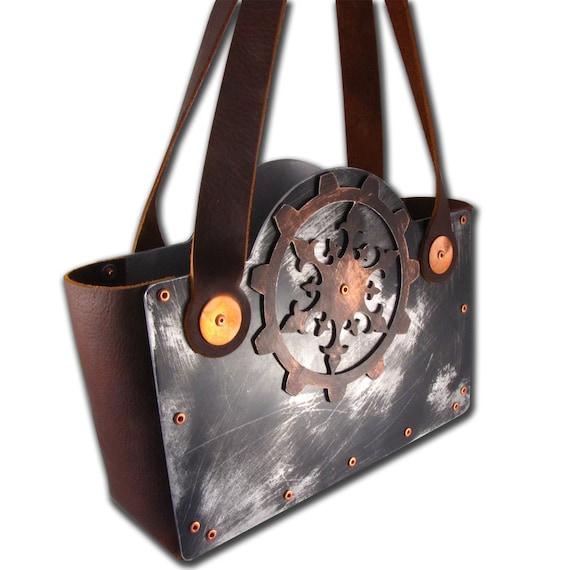 Steampunk Heavy Distressed Ornate Gear Brown Leather Handbag Victorian Femme Fatale
