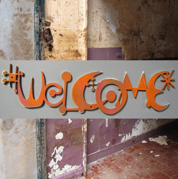 WELCOME sign in Aluminum Metallic Melon