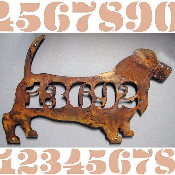 CUSTOM EAMES Style Basset Hound Silhouette House Number Sign
