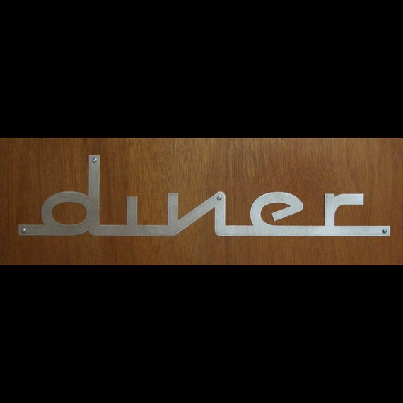 DINER sign in Stainless Steel