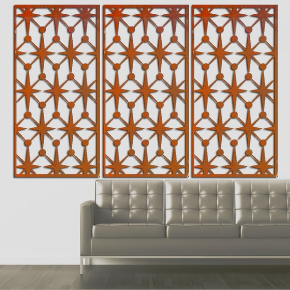 MOD Vegas Stars No 1 Triple Panel Floating Wall Art 46 X 23 available in 25 colors FREE SHIPPING