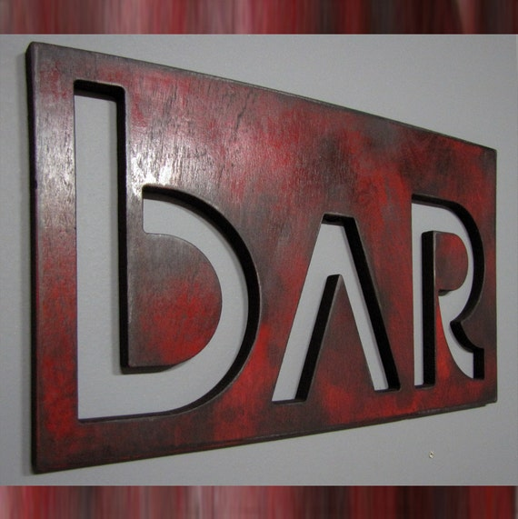 EURO BAR sign in Retro Fire Engine Red