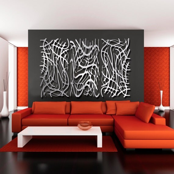 Art Nouveau Web No. 8 and 9 TRIO in Brushed Aluminum FREE SHIPPING