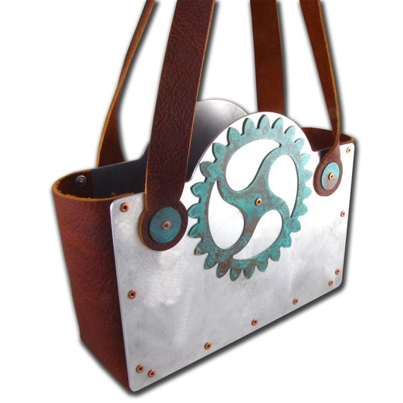 CLEARANCE Steampunk Recycled Copper Gear Blue Patina and Rust Leather Handbag FREE SHIPPING