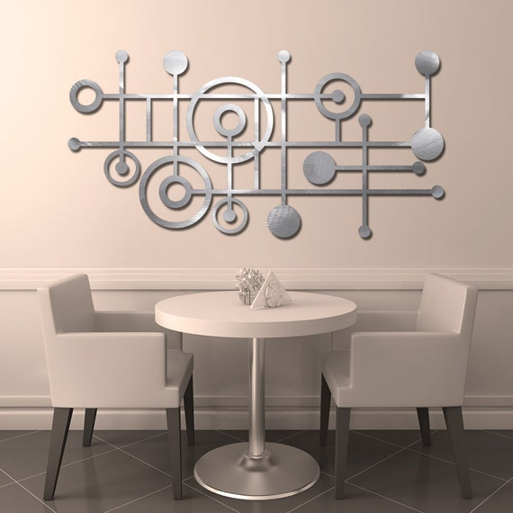 MOD Dots No. 4 Floating Wall Art in 46 X 23 Textured Aluminum