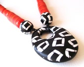 Untamed african style polymer clay edgy statement necklace with huge geometric pendant - chunky and colorful, EuropeanStreetTeam, BeadsTeam