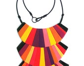 Circus bib statement necklace - bold colorful striped polymer clay necklace in pink, purple, red, orange and yellow hues one-of-a-kind