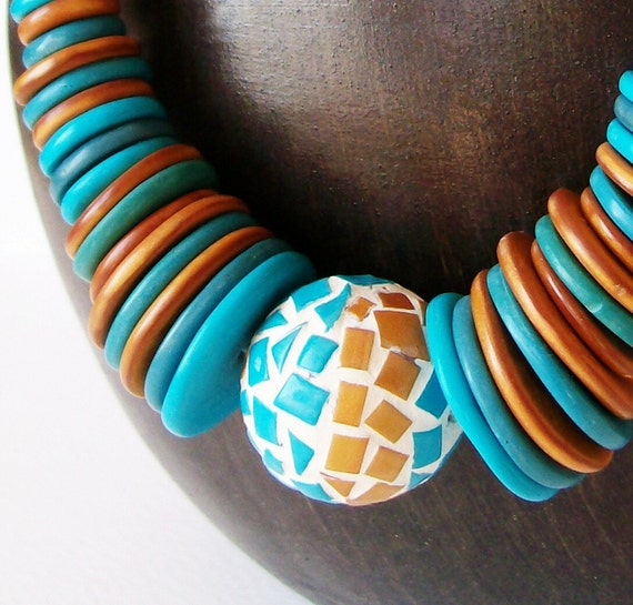 RESERVED for Flora Polymer clay necklace - Pharaoh - choker necklace in gold turquoise shades - BeadsTeam - statement necklace