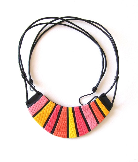"""Clay bib necklace - """"The Pink Candy Cheshire Cat Grin"""" bib fashion necklace bright neon Alice in Wonderland, leather cord,EuropeanStreetTeam"""
