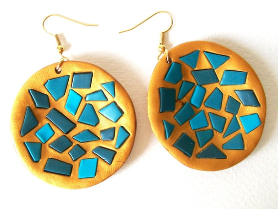 Turquoise Mosaic earrings dangle polymer clay earrings blues and gold EuropeanStreetTeam FunkyAlternativeJewelry BeadsTeam